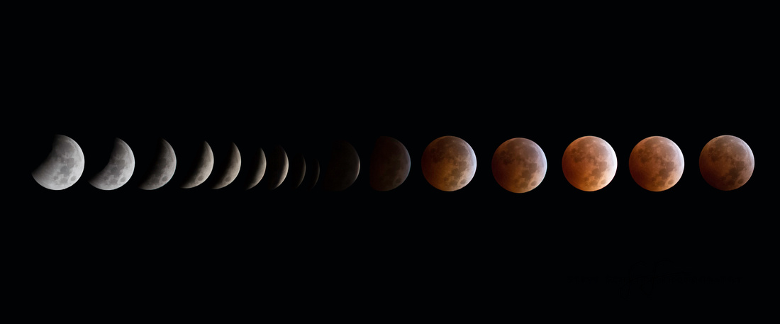 Full eclipse and blood moon, October 8, 2014, shot from Joshua Tree National Park